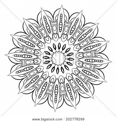 A beautiful monochrome mandala. A pattern for a color book. Picture for the design of the album. Template for printing on fabric. Image for relaxation and meditation. Coloring element.