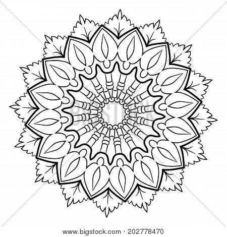 A beautiful monochrome mandala. Hexagonal star. A pattern for a color book. Picture for the design of the album. Template for printing on fabric. Image for relaxation and meditation. Coloring element.