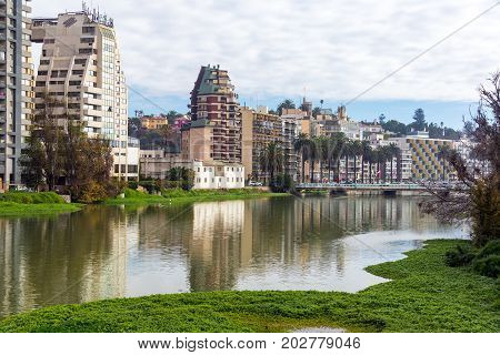 VINA DEL MAR CHILE - MAY 30: View of an estuary flowing through the center of Vina del Mar Chile on May 30 2014