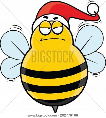 Cartoon illustration of a bee with a Santa hat and grumpy expression.