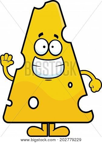 Cartoon illustration of swiss cheese smiling and waving.