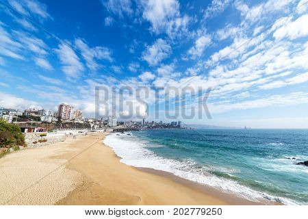 View of the beach in the coastal city of Vina del Mar Chile
