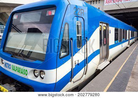 VALPARAISO CHILE - MAY 30: Metro train in Valparaiso Chile connecting Valparaiso to Vina del Mar on May 30 2014