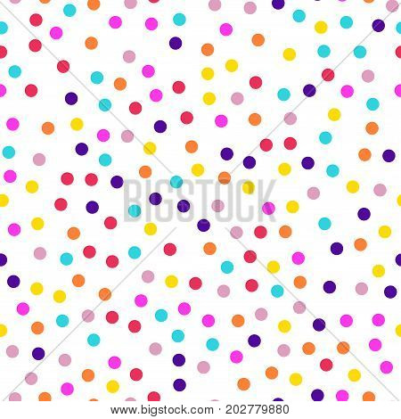 Memphis Style Polka Dots Seamless Pattern On White Background. Charming Modern Memphis Polka Dots Cr