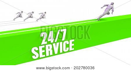 24 7 Service as a Fast Track To Success 3D Illustration Render