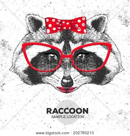 Retro Hipster animal raccoon. Hand drawing Muzzle of animal  raccoon. Girl of 60s