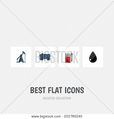 Flat Icon Petrol Set Of Droplet, Petrol, Rig And Other Vector Objects
