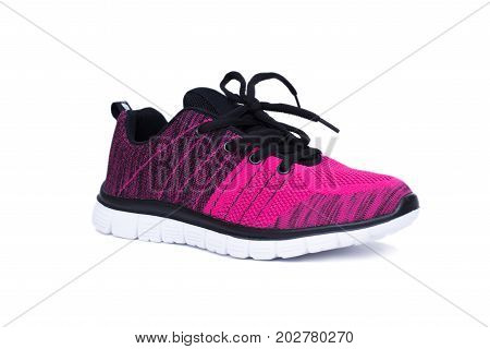 Pink And Black Sport Woman Shoes Isolated On White Background.