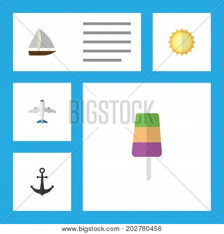 Flat Icon Beach Set Of Yacht, Sundae, Ship Hook And Other Vector Objects