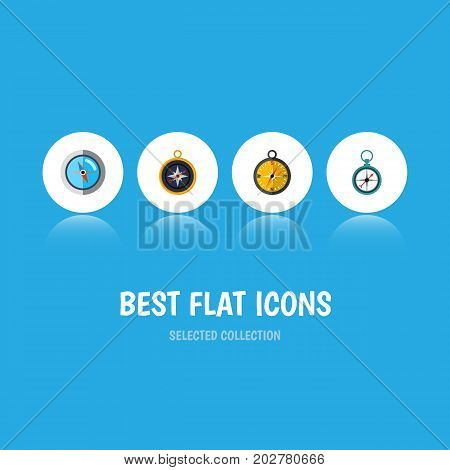 Flat Icon Orientation Set Of Navigation, Measurement Dividers, Divider And Other Vector Objects