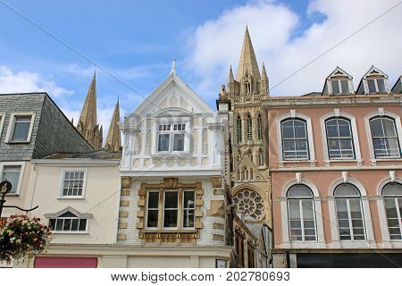 Houses and Cathedral on a street in Truro
