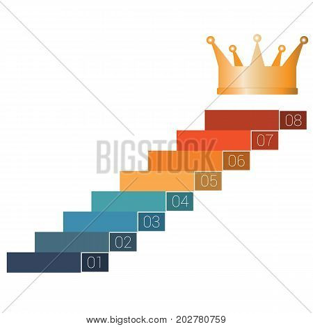 Eight steps to crown. Template infographics for 8 positions. White background.