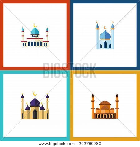 Flat Icon Mosque Set Of Structure, Mosque, Mohammedanism And Other Vector Objects