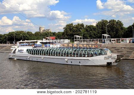 Moscow Russia - July 20 2017: Modern pleasure boat sails along the Moscow River.