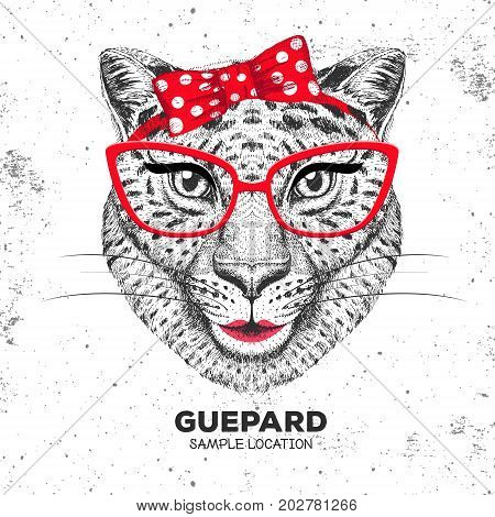Retro Hipster animal guepard. Hand drawing Muzzle of animal  guepard. Girl of 60s