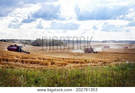 Harvester machine to harvest wheat field working combine harvester agriculture machine harvesting