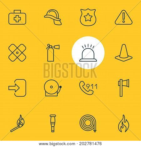 Editable Pack Of Hardhat, Safety, Hosepipe And Other Elements.  Vector Illustration Of 16 Necessity Icons.