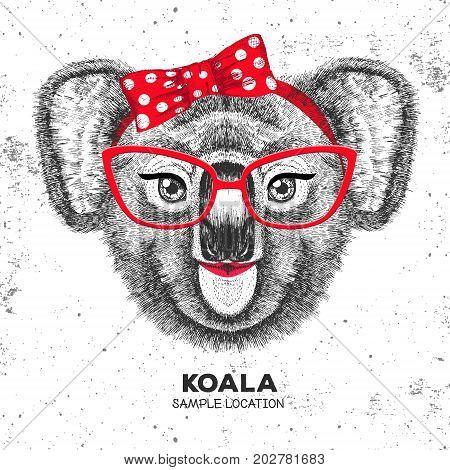 Retro Hipster animal koala. Hand drawing Muzzle of animal koala. Girl of 60s