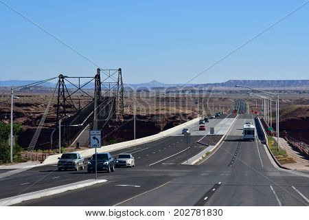 Arizona USA - july 8 2016 : the road between Monument Valley and Flagstaff