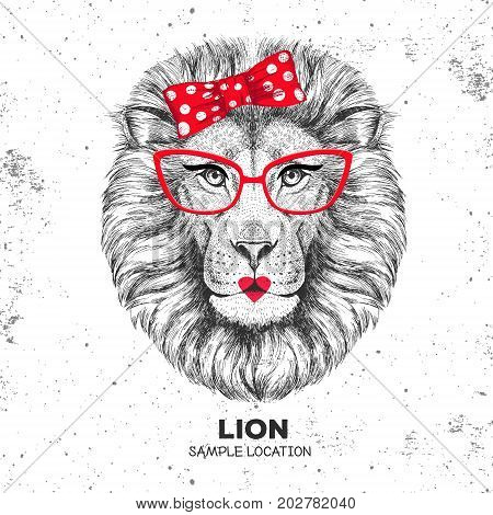 Retro Hipster animal lion. Hand drawing Muzzle of animal lion. Girl of 60s