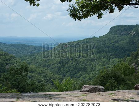 From the photographers vantage point a beautiful green and blue scenery was captured in Arkansas.
