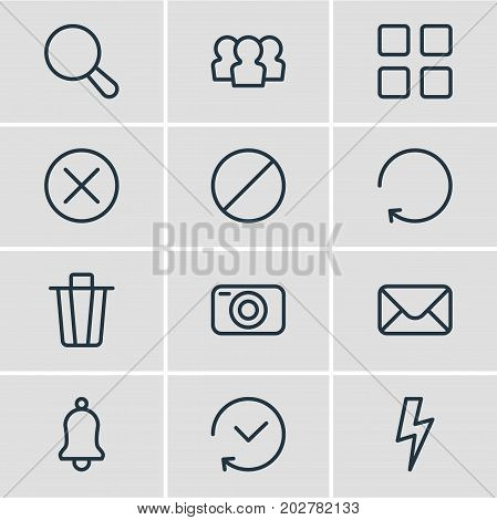 Editable Pack Of Block, Reload, Locked And Other Elements.  Vector Illustration Of 12 Application Icons.