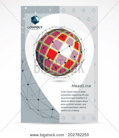 Communication technologies advertising poster. Abstract vector bright isometric dimensional shape.