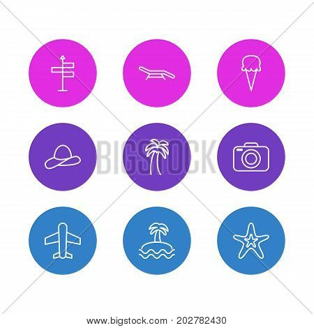 Editable Pack Of Sorbet, Palm, Photo Apparatus And Other Elements.  Vector Illustration Of 9 Summer Icons.