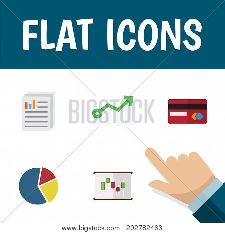 Flat Icon Gain Set Of Diagram, Payment, Growth And Other Vector Objects