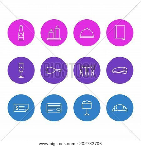 Editable Pack Of Book, Sundae, Account And Other Elements.  Vector Illustration Of 12 Restaurant Icons.