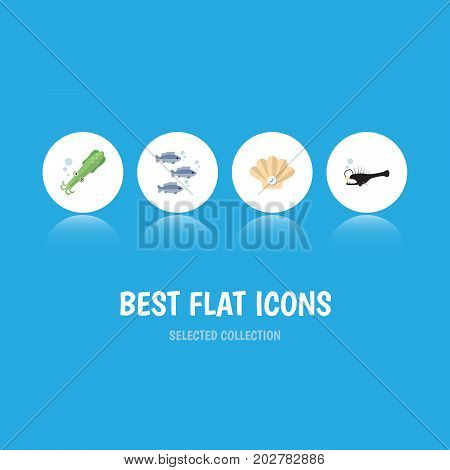 Flat Icon Nature Set Of Tuna, Fish, Octopus And Other Vector Objects
