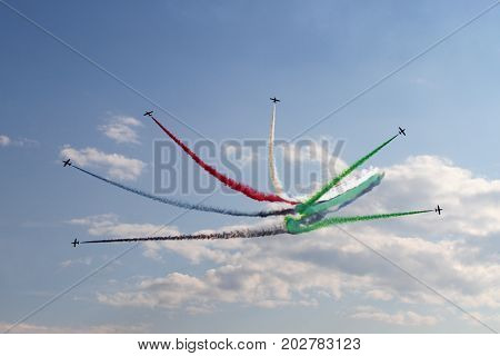 Moscow Region - July 21 2017: Aerobatic display team from the United Arab Emirates at the International Aviation and Space Salon in Zhukovsky.