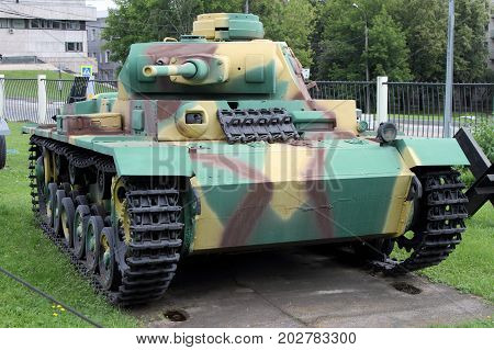 Moscow Russia - July 19 2017: Medium T III Tank (Germany) on grounds of weaponry exhibition in Victory Park at Poklonnaya Hill.