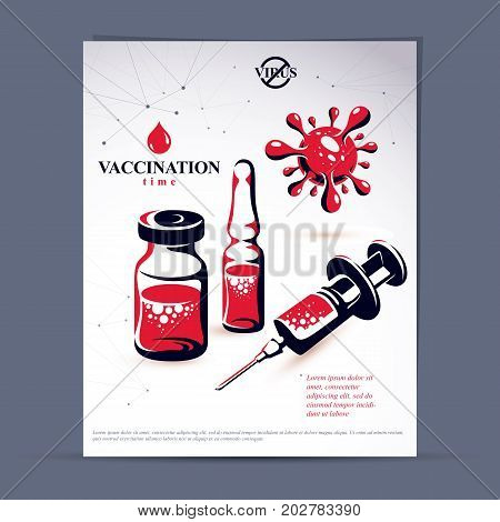 Planned immunization flyer template. Vector illustration of disposable syringe bottle and ampoule with medicine isolated on white background.