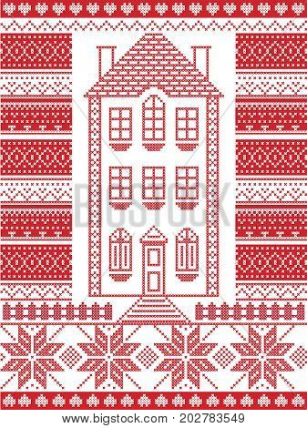 Nordic style and inspired by Scandinavian Christmas pattern illustration in cross stitch in red and white including  gingerbread house,star, fence, decorative seamless ornate patterns