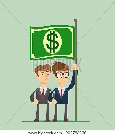 people hold fluttering dollar . Stock flat vector illustration