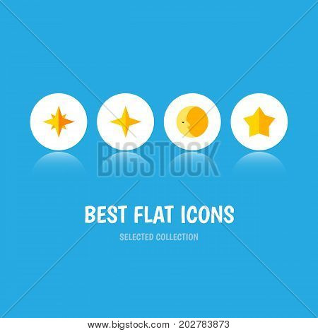Flat Icon Midnight Set Of Star, Starlet, Asterisk And Other Vector Objects