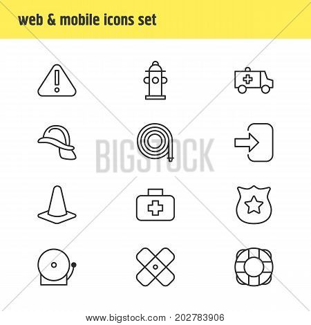 Editable Pack Of Exclamation, Medical Case, Water And Other Elements.  Vector Illustration Of 12 Necessity Icons.