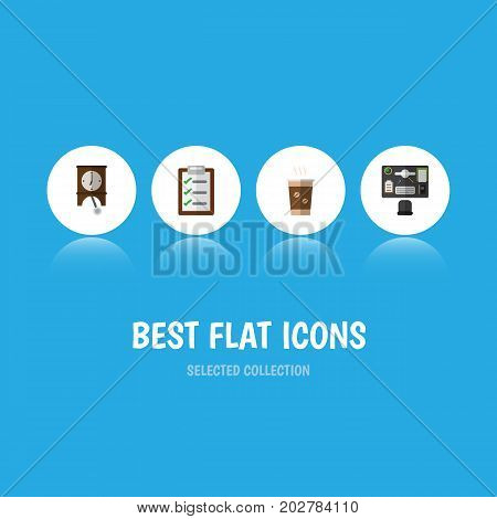 Flat Icon Life Set Of Clock, Questionnaire, Bureau And Other Vector Objects