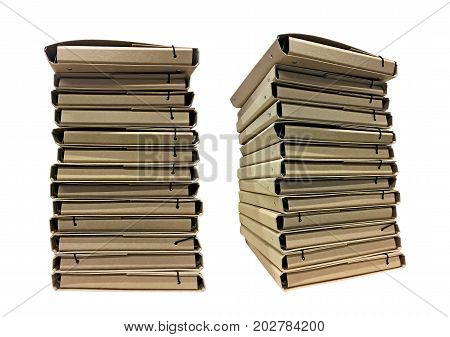 Stack of cardboard folders for documents isolated on a white background