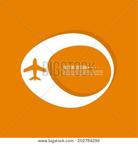 Abstract geometric shape banner with icon airplane. Vector frame speech bubble. Air text box. Aeroplane textbox. Orange.