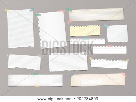 White striped note paper, copybook, notebook sheet stuck with adhesive tape on gray background