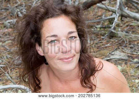 Pretty Forties Woman In Park In Summer Day