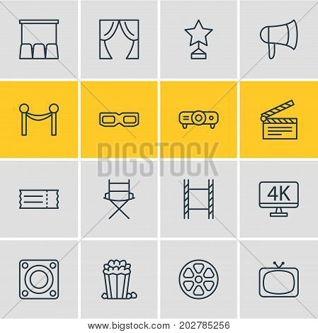 Editable Pack Of Loudspeaker, Spectacles, Slideshow And Other Elements.  Vector Illustration Of 16 Film Icons.