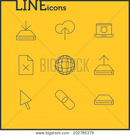 Editable Pack Of Hard Drive Disk, Cloud Download, Hdd Sync And Other Elements.  Vector Illustration Of 9 Web Icons.