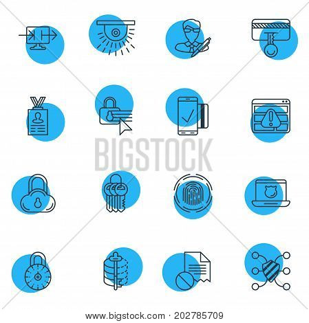 Editable Pack Of Account Data, Easy Payment, Safeguard And Other Elements.  Vector Illustration Of 16 Privacy Icons.