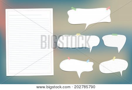 White speech bubbles note, copybook, notebook paper with dashed line stuck on colorful background