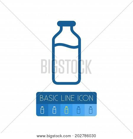 Glass Bottle Vector Element Can Be Used For Milk, Bottle, Glass Design Concept.  Isolated Milk Outline.
