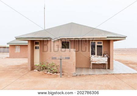 CAPE CROSS NAMIBIA - JUNE 29 2017: The reception office at Cape Cross seal colony on the Skeleton Coast of Namibia
