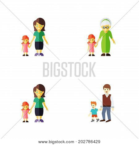 Flat Icon Family Set Of Grandchild, Boys, Daugther Vector Objects